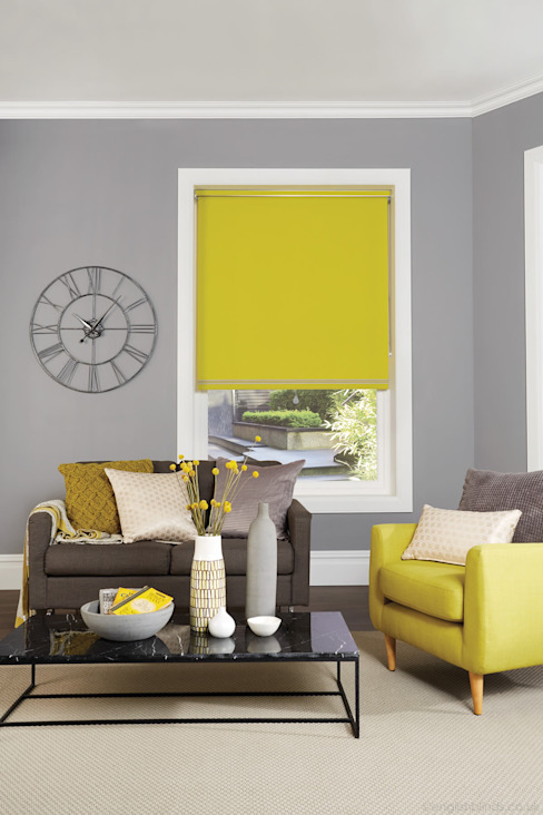Vibrant Yellow Blackout Roller Blinds : modern by English Blinds, Modern Textile Amber/Gold