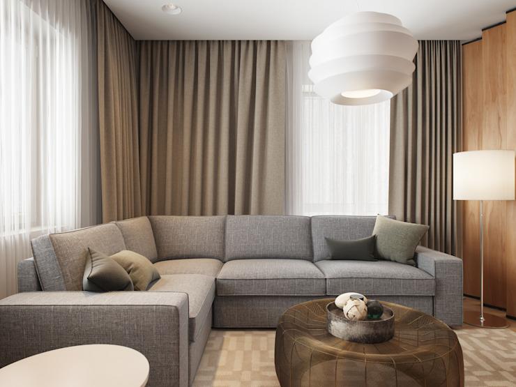 Maison à Tomsk Salon moderne par EVGENY BELYAEV DESIGN Moderne