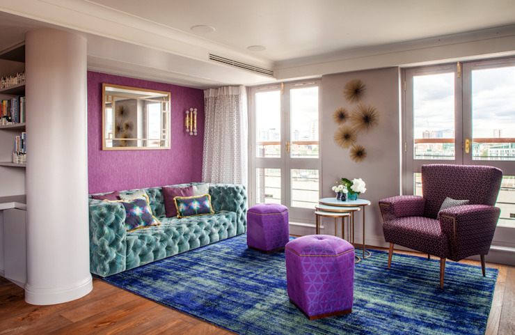 Riverside Flat d'inspiration Art Déco : salon de style éclectique Bermondsey par Cassidy Hughes Design d'intérieur éclectique
