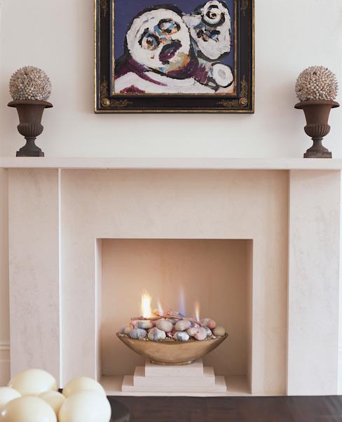 Cheminée à gaz ouverte, style contemporain, moderne Salon moderne par The Platonic Fireplace Company Modern Limestone