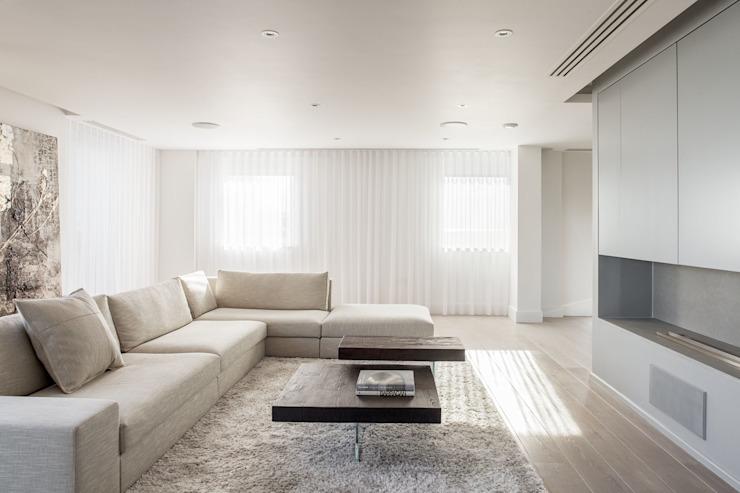 Salon Francesco Pierazzi Architectes Salon minimaliste Blanc