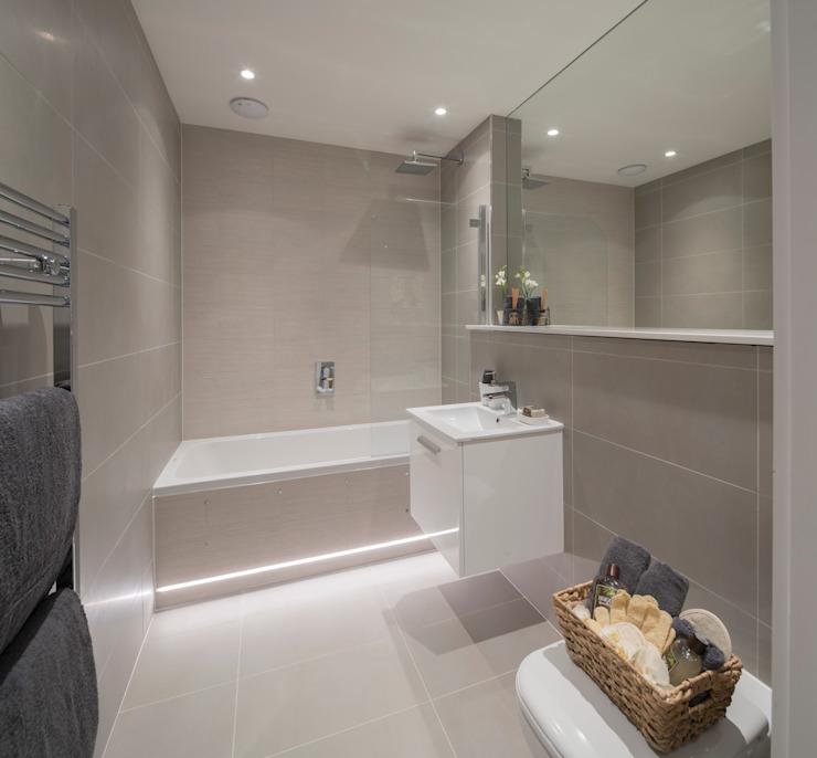 Station Rd, New Barnet Jigsaw Architecture intérieure Salle de bain moderne Beige