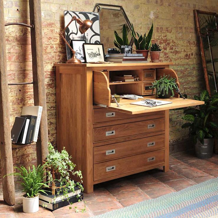 Bureau caché en chêne clair The Cotswold Company Étude/bureau de style champêtre Bois