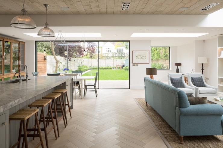 Salon ouvert Salle à manger minimaliste Fraher et Findlay