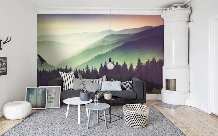 Montagnes et brume Pixers Salon de style éclectique Multicolore
