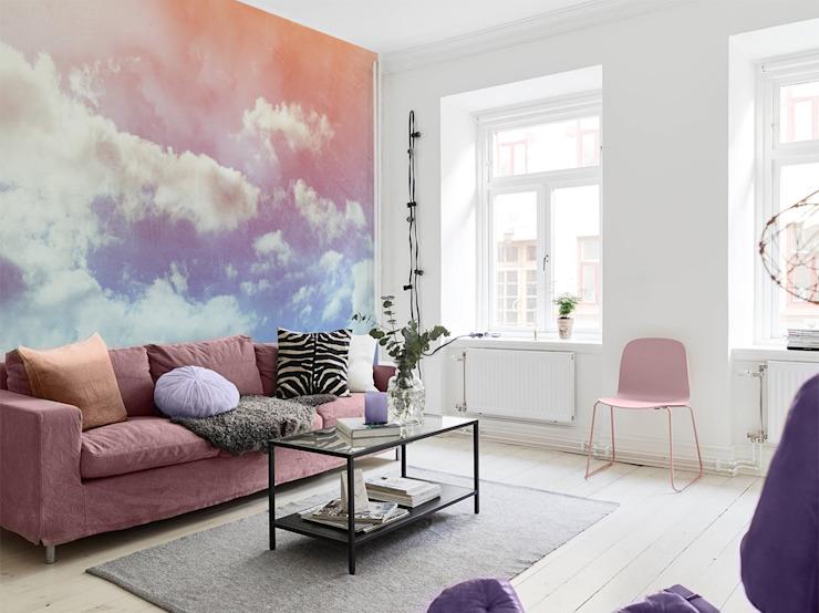 Nuages pastel Pixers Salon de style éclectique Rose