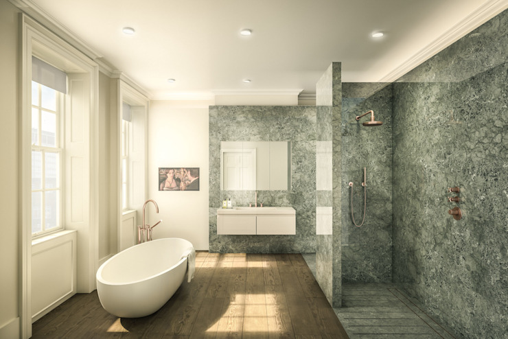 Porte de la Reine Anne Toile de verre Salle de bains de style classique