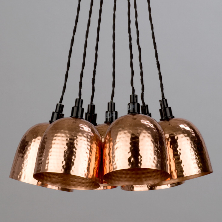 7 Light Cluster Ceiling Pendant with Hammered Shades Copper Litecraft Living roomLighting Copper/Bronze/Brass