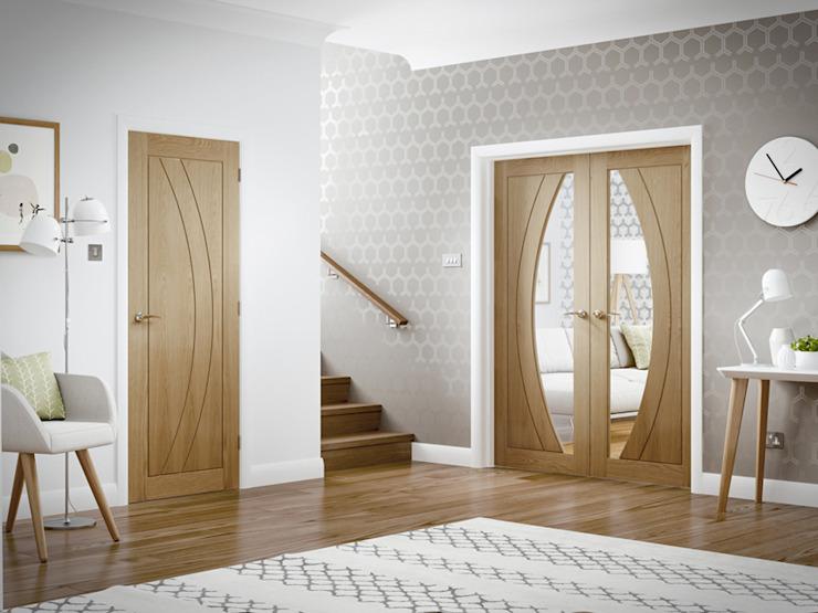 Salerno Oak Glazed Pair et single solid Internal Door Modern Doors Ltd Windows & doors Portes Engineered Wood Wood effect